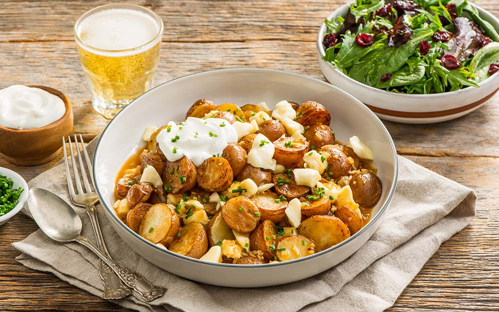 Roasted Potato Poutine & Cranberry Salad with cheese curds, gravy and fresh herbs, Taste of Quebec