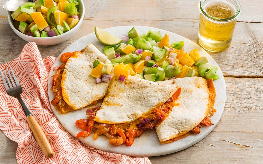 "Cheese & Roasted Red Pepper Quesadillas with an avocado and tomatillo ""ceviche"", Top Pick"