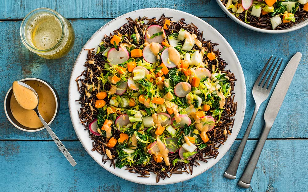 Wild Rice & Creamy Miso Stir-fry with bok choy, sweet potatoes and Brussels sprouts,