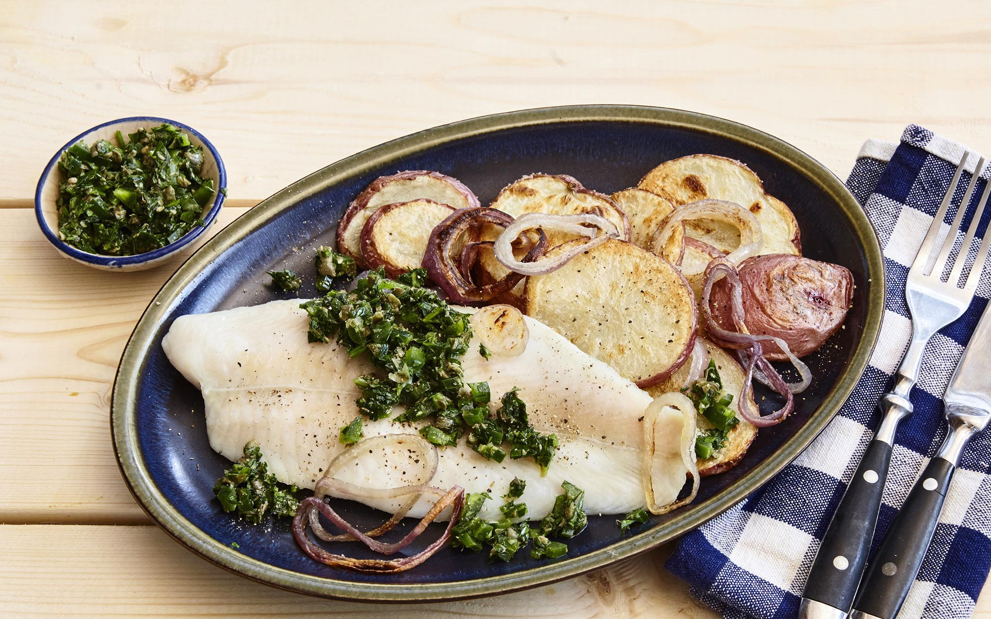Baked Basa with Chimichurri Sauce