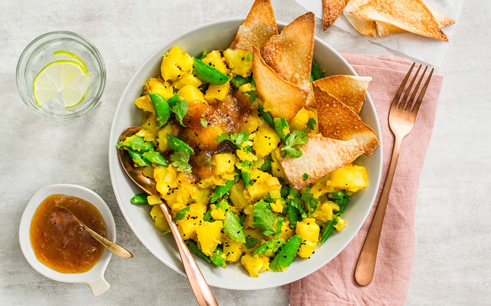 Gujarati Samosa Bowl with nigella-spiced potatoes, snap peas and mango chutney, Top Pick