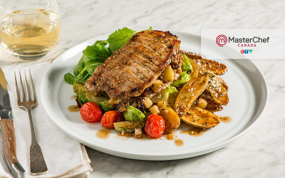 Stuffed Pork with crisp potatoes, Brussels sprouts and a baby green salad,