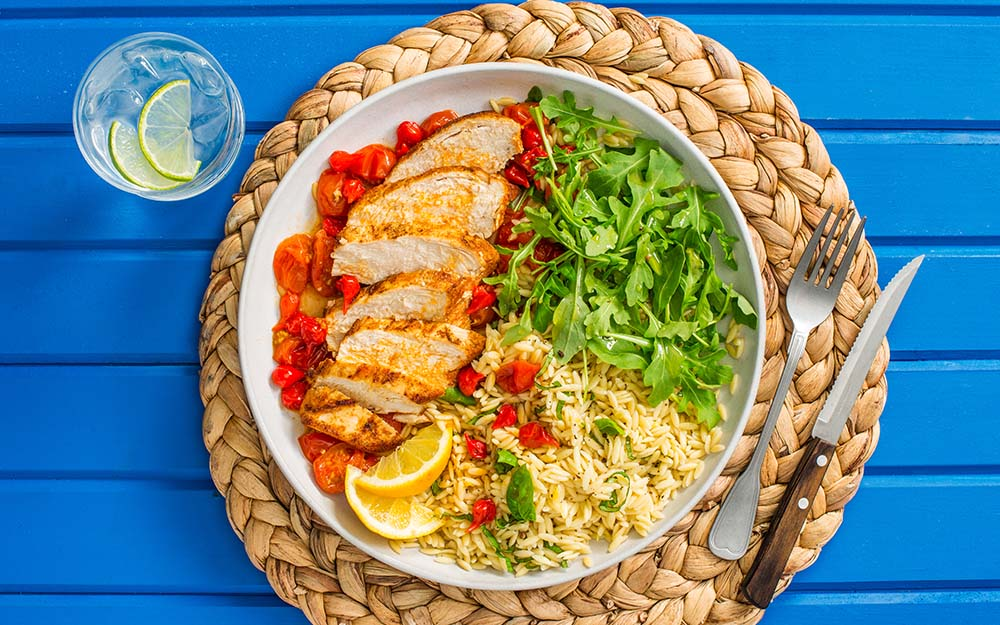 Piri Piri Baked Chicken with sweet drop peppers, basil orzo and an arugula salad, Ingredient Spotlight