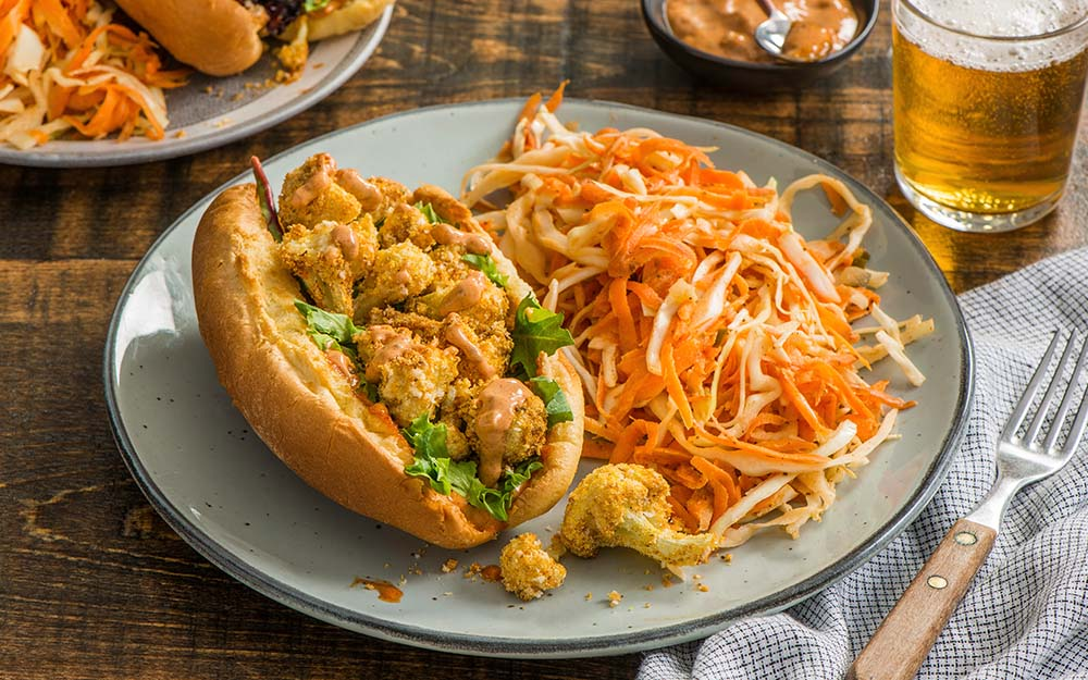 Louisiana-style Cauliflower Po' Boy Sandwiches with a crunchy Old Bay slaw and smoky remoulade,