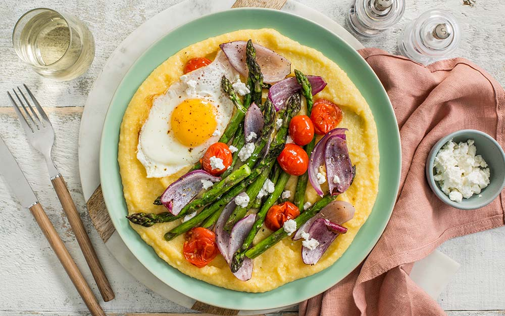 Goat Cheese Polenta & Roasted Asparagus with a cherry tomato vinaigrette and a fried egg,