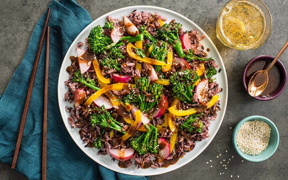 Purple Rice & Miso Stir-fry with broccolini, sweet peppers and sesame seeds,