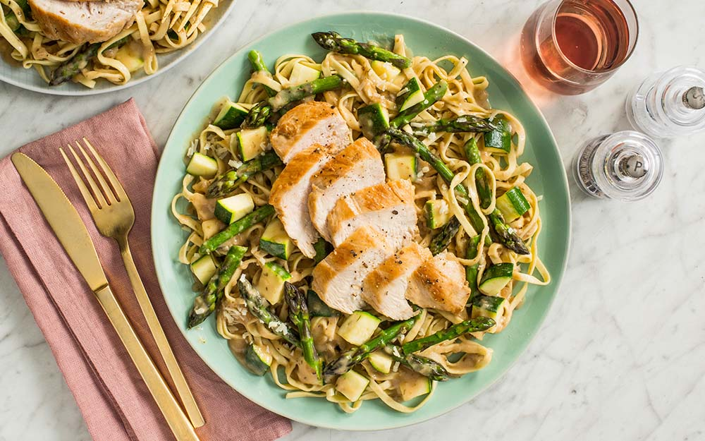Chicken Linguine Alfredo with fresh pasta, asparagus and zucchini,