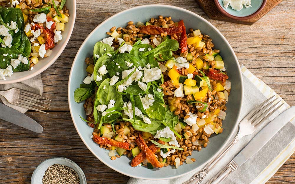 Mediterranean Sundried Tomato Farro with balsamic glaze, zucchini and feta, Whole Grains