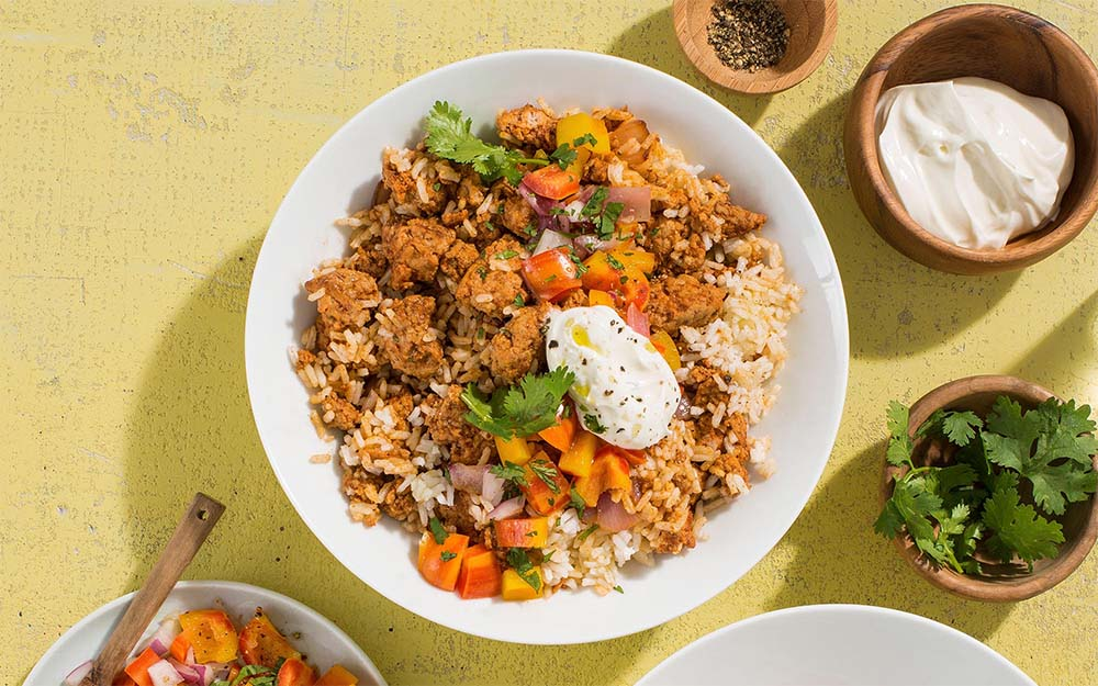 One Pot Turkey Burrito Bowl with a pepper salsa and sour cream, Ingredient Spotlight