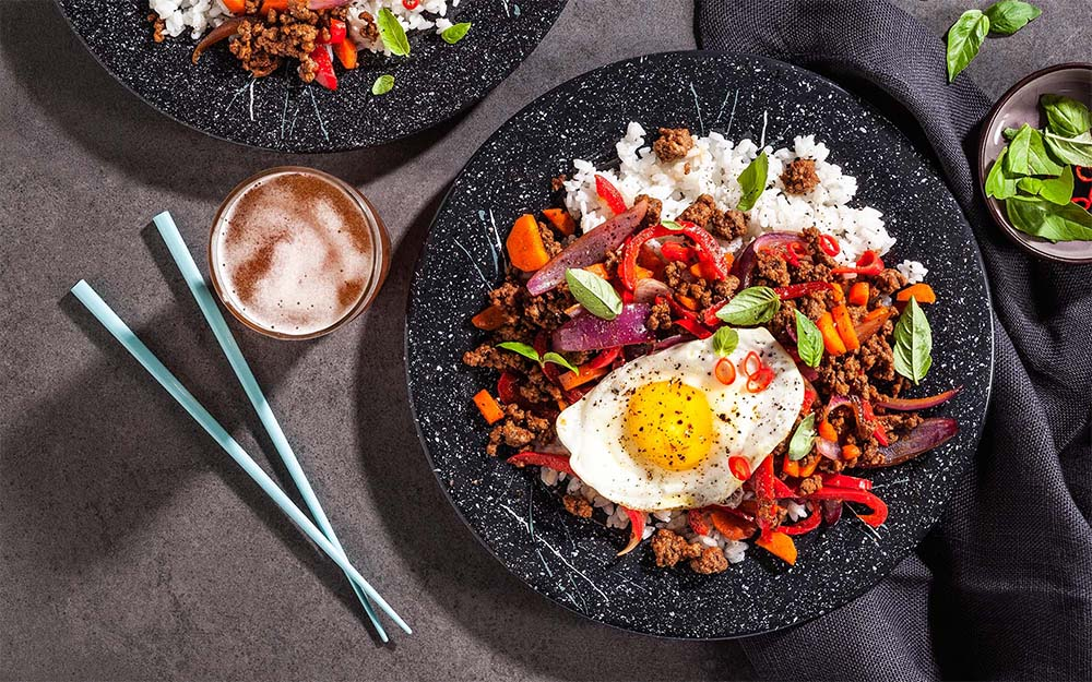 Beef Pad Gra Prow with Thai basil, sweet chili sauce and sticky rice,