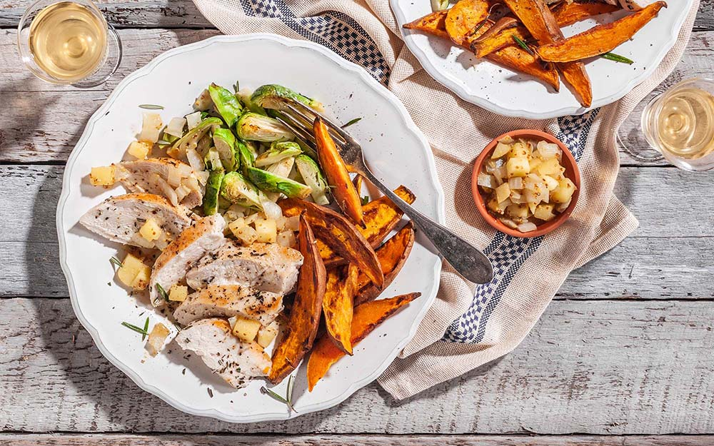 Rosemary Chicken & Apple Chutney with roasted sweet potatoes and Brussels sprouts,