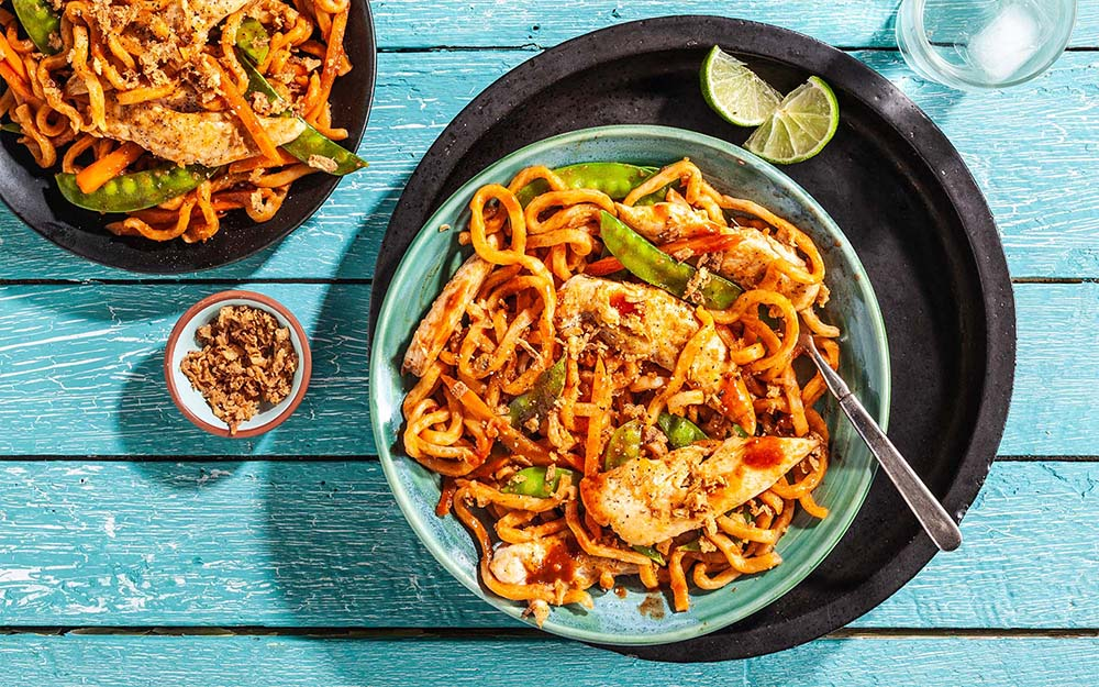 Ssamjang Chicken with udon noodles, snow peas & lime,