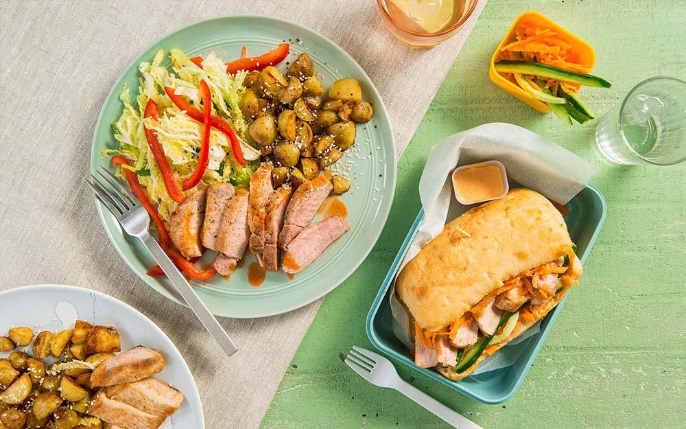 Honey Sriracha Glazed Pork & Sesame Potatoes Pork Banh Mi Focaccias,