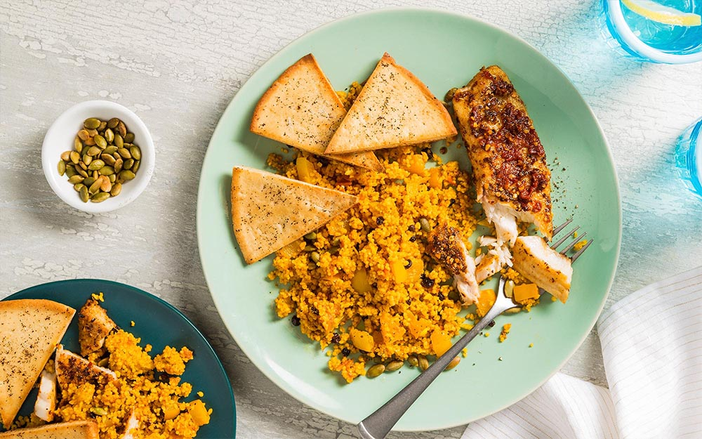 Harissa Pan Fried Fish with sumac pitas and jeweled couscous,