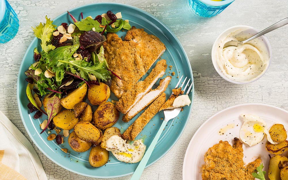 Oven Baked Chicken Ranch with potatoes and cranberry-almond greens,