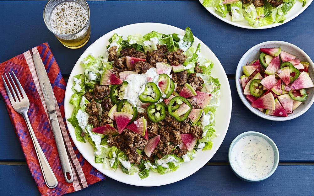Beef Taco Salad with a watermelon radish salsa and creamy lime dressing, Ingredient Spotlight