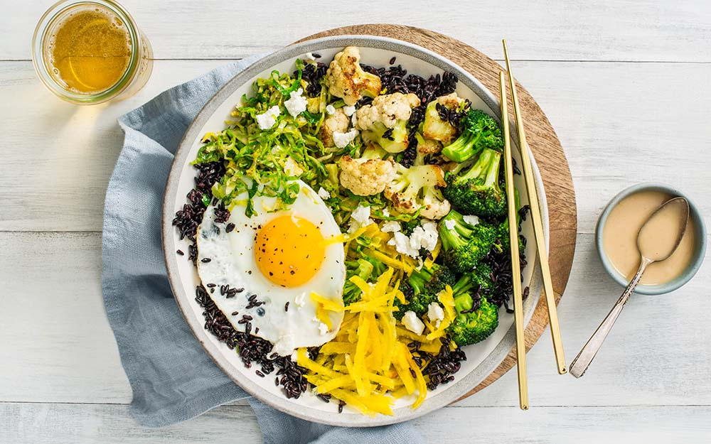 Forbidden Rice & Goat Cheese Brassica Bowl with broccoli, golden beets and creamy miso dressing,