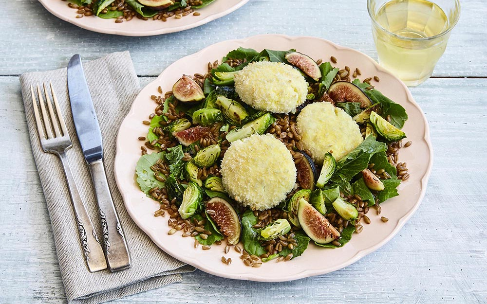 Baked Goat Cheese & Fig Salad with harvest greens, farro and a sherry vinaigrette,