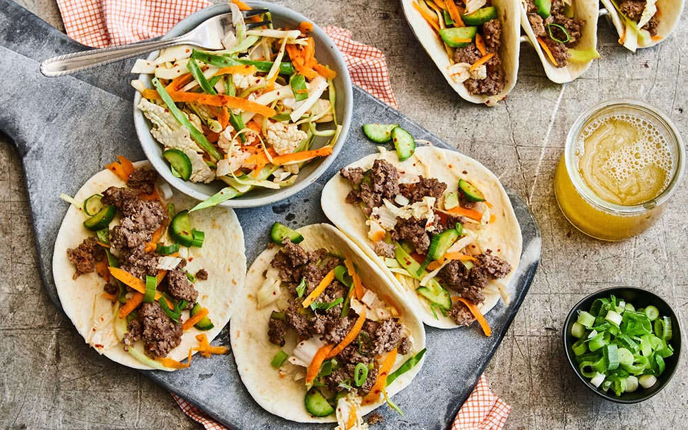 Korean Beef Tacos with quick kimchi and warm flour tortillas, 20 Minute Meal