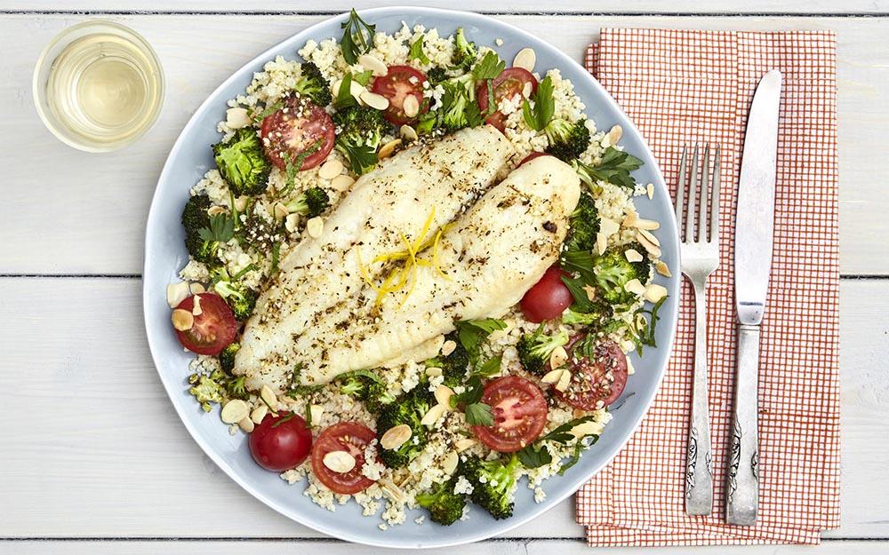 Lemon and Za'atar Basa with roasted broccoli and almond tabbouleh, Customer Favourite