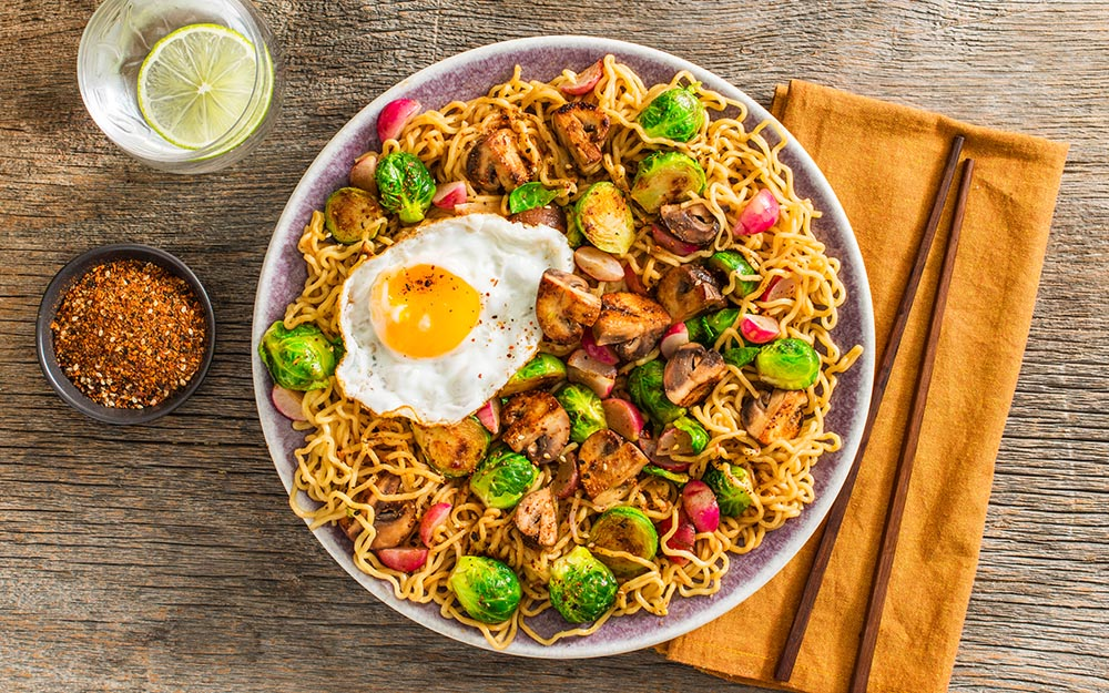 Roasted Miso Vegetable Ramen with mushrooms, Brussels sprouts and togarashi,