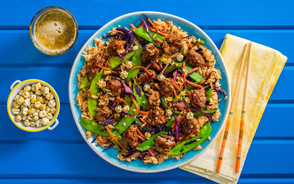 Sesame Beef Fried Rice with snow peas, carrots and hoisin-ssamjang sauce,