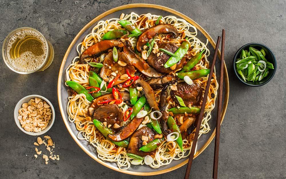 Shiitake Mushroom Chow Mein with doenjang, snap peas and roasted peanuts,