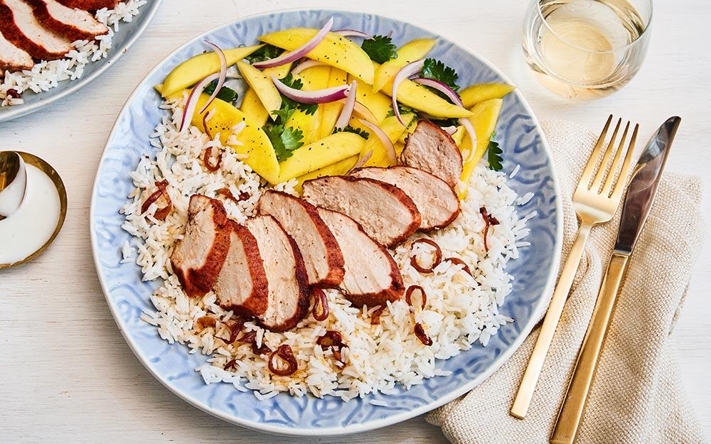 Tandoori Chicken & Mango Salad with steamed jasmine rice and a garlic sour cream sauce,