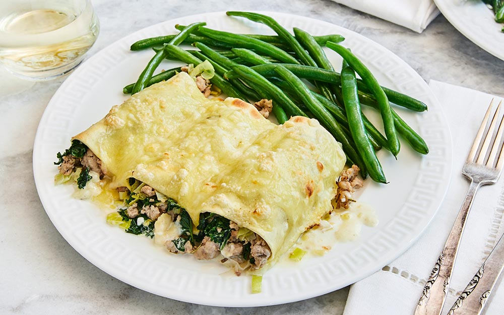 Turkey and Leek Cannelloni with Swiss cheese and steamed green beans, Top Seller