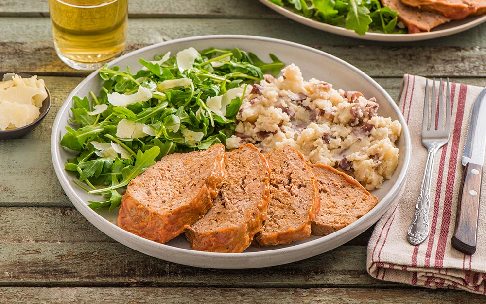 Turkey Meatloaf & Mashed Potatoes with a Dijon glaze and an arugula parmesan salad,
