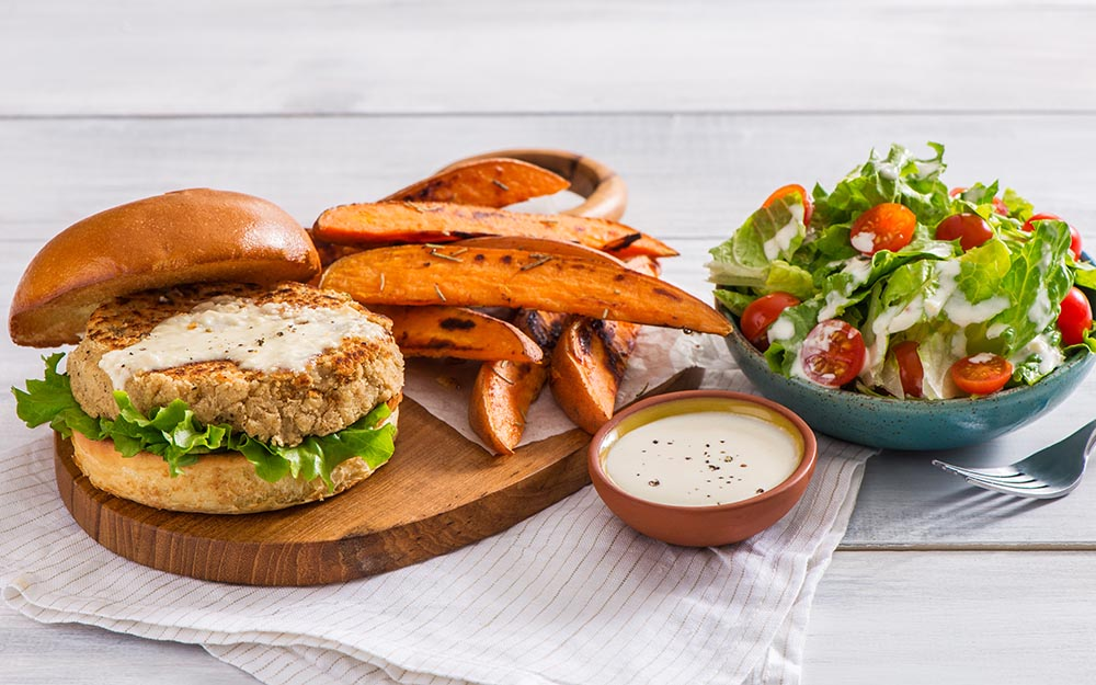White Bean Caesar Burgers with rosemary sweet potato wedges & a creamy chopped salad, Oven Only